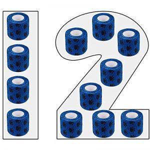 Amathings Lot de 12 bandages adhésifs en bleu avec film de fixation élastique 5 cm de large 4,5 m de longueur pour les doigts, la main, les orteils et les pieds, le pansement magique Bleu de la marque AMATHINGS image 0 produit