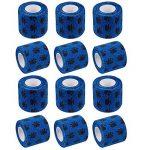 Amathings Lot de 12 bandages adhésifs en bleu avec film de fixation élastique 5 cm de large 4,5 m de longueur pour les doigts, la main, les orteils et les pieds, le pansement magique Bleu de la marque AMATHINGS image 1 produit