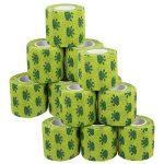 Amathings Lot de 12 bandages adhésifs pour pansements Vert avec film de fixation élastique 5 cm de largeur 4,5 m de longueur pour les doigts, la main, les orteils et les pieds, bande de maintien de la marque AMATHINGS image 2 produit