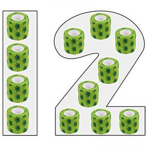 Amathings Lot de 12 bandages adhésifs pour pansements Vert avec film de fixation élastique 5 cm de largeur 4,5 m de longueur pour les doigts, la main, les orteils et les pieds, bande de maintien de la marque AMATHINGS image 0 produit