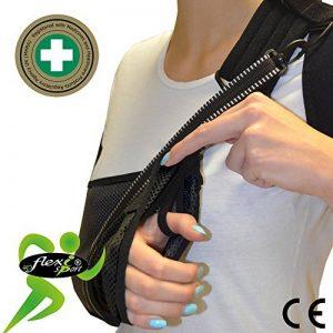 Écharpe d'immobilisation d'épaule de bras (M,Noir) ✔ Poche de bras est grande profonde 'Confort De luxe' ✔ Conception unique pour prévention de la douleur au cou. Unisexe. de la marque 4DflexiSPORT® image 0 produit