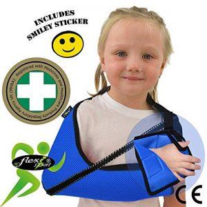 Écharpe d'immobilisation DE LUXE ENFANT 3-5 ans/Bleu soutient le bras et l'épaule, prévient les douleurs au cou, comprend une boucle pour le pouce et un autocollant souriant. Unisexe. de la marque 4DflexiSPORT image 0 produit