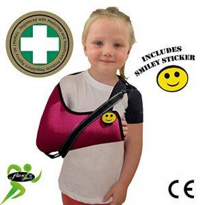 Écharpe d'immobilisation DE LUXE ENFANT 3-5 ans/FRAMBOISE soutient le bras et l'épaule, prévient les douleurs au cou, comprend une boucle pour le pouce et un autocollant souriant. Unisexe. de la marque 4DflexiSPORT image 0 produit