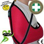 Écharpe d'immobilisation DE LUXE ENFANT 3-5 ans/FRAMBOISE soutient le bras et l'épaule, prévient les douleurs au cou, comprend une boucle pour le pouce et un autocollant souriant. Unisexe. de la marque 4DflexiSPORT image 2 produit
