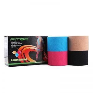 FITOP 4 Rouleaux de Bande de Kinésiologie 5cm X 5m Kinesiology Tape en Coton Assortiment de Couleurs de la marque FITOP image 0 produit
