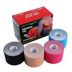 FITOP 4 Rouleaux de Bande de Kinésiologie 5cm X 5m Kinesiology Tape en Coton Assortiment de Couleurs de la marque FITOP image 1 produit