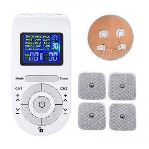 Jiewo Electrostimulateur Anti Douleur pour unité TENS de soulagement de la Douleur avec 12modes 40 intensité, pour la thérapie électronique Gestion de la Douleur, 4 électrodes, Clip de Ceinture de la marque Jiewo image 0 produit