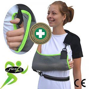 Maintien du bras écharpe épaule pou 12ans à grand adulte 'Confort suprême de luxe' Conception unique pour la prévention de la douleur au cou lors du port d'un bras. Unisexe. (Gris/citron vert) de la marque 4DflexiSPORT image 0 produit