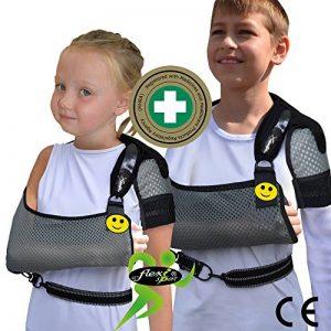 Maintien du bras écharpe épaule pour l'enfant (taille unique 3-10 ans) 'Confort suprême de luxe' Conception unique pour la prévention de la douleur au cou lors du port d'un bras. Unisexe. (gris/noir) de la marque 4DflexiSPORT image 0 produit