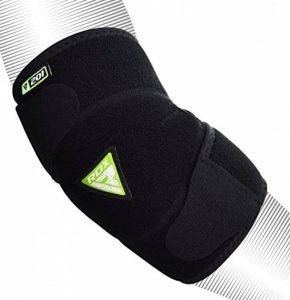 RDX Néoprène MMA Soutien RSI Arthrite Coude Coudière Entraînement Protection Velcro Respirant réglable Sport Elbow Bandage Soulagement de la Douleur Fitness (Le Paquet Contient Une Seule Pièce) de la marque RDX image 0 produit