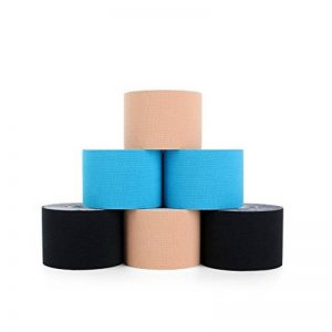 Superbe Bande Kinesiologie K Taping pour Cheville, Mollet, Genou 5cm x 5m (2 Noir, 2 Beige, 2 Bleu) de la marque SUPERBE image 0 produit