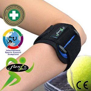 Tennis Elbow - Coudière anti-épicondylite. Portée à WIMBLEDON. Bracelet de compression ANTI-TRANSPIRANT, HYPOALLERGÉNIQUE, respecte les peaux délicates. SANS NEOPRENE-SANS LATEX. 4DflexiSPORT de la marque 4DflexiSPORT image 0 produit