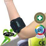 Tennis Elbow - Coudière anti-épicondylite. Portée à WIMBLEDON. Bracelet de compression ANTI-TRANSPIRANT, HYPOALLERGÉNIQUE, respecte les peaux délicates. SANS NEOPRENE-SANS LATEX. 4DflexiSPORT de la marque 4DflexiSPORT image 1 produit